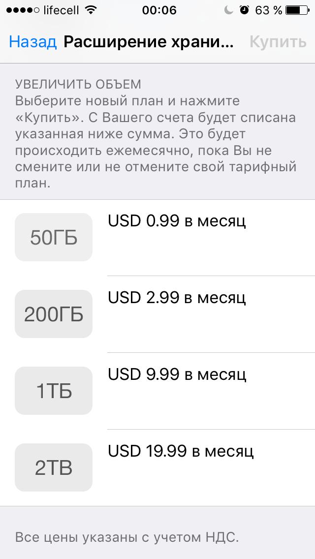 Цены на дополнительное место в iCloud за месяц