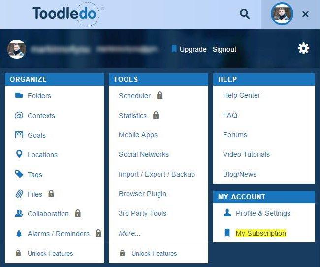 Настройка Toodledo