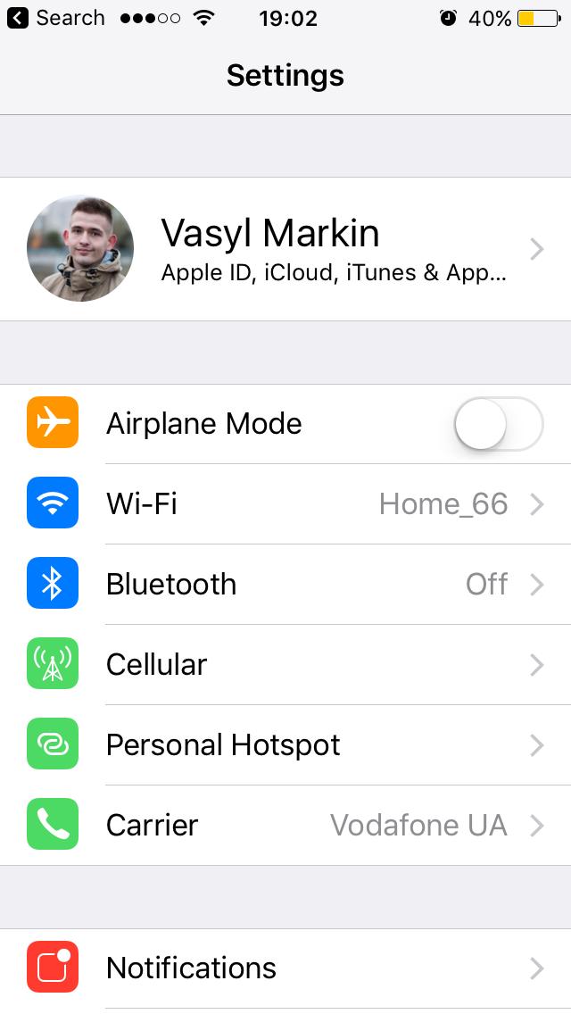 Доступ к iCloud в Настройках iPhone