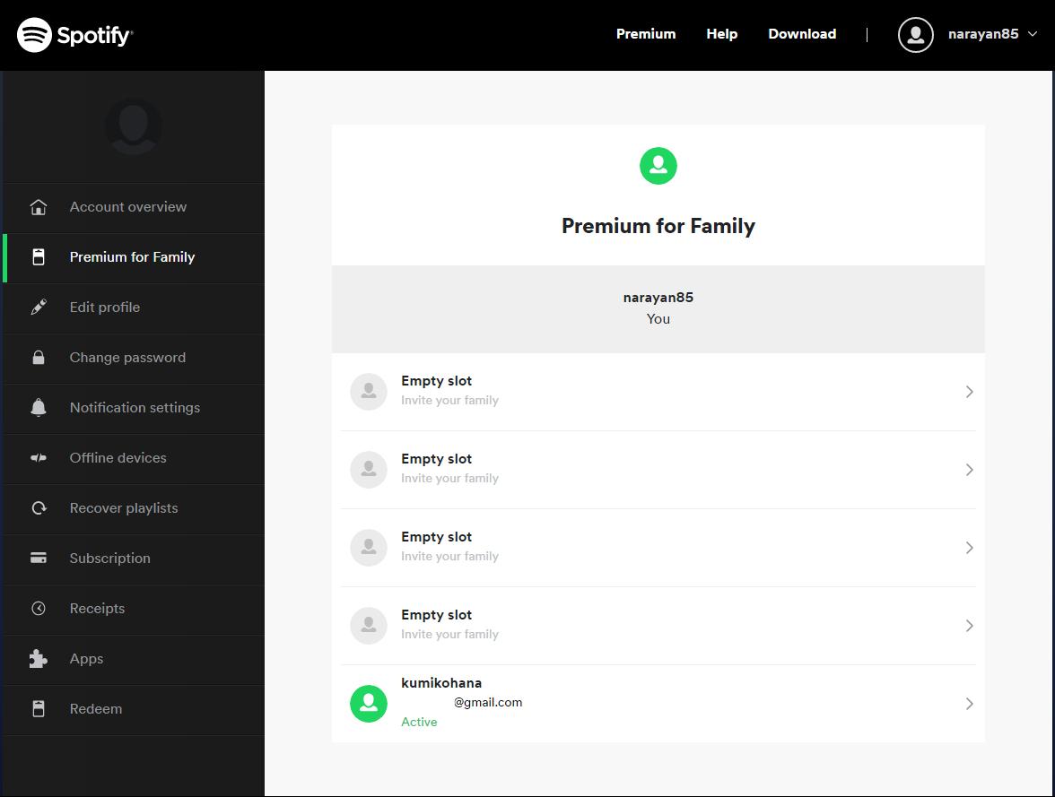 Активация слотов семейного доступа Spotify