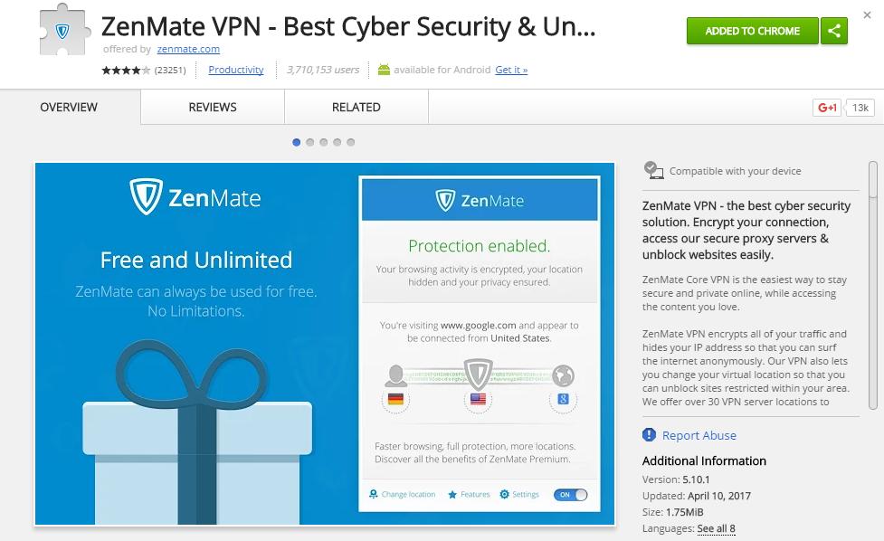 приложение ZenMate браузера Chrome для проксирование трафика