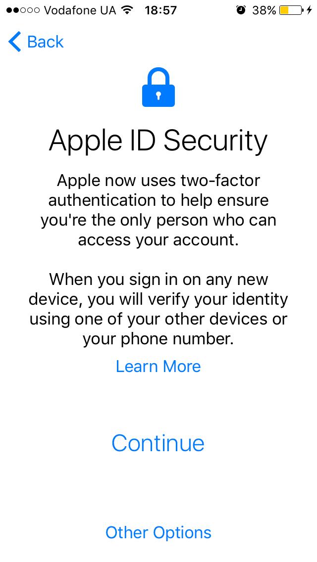 Двойная аутентификация Apple ID