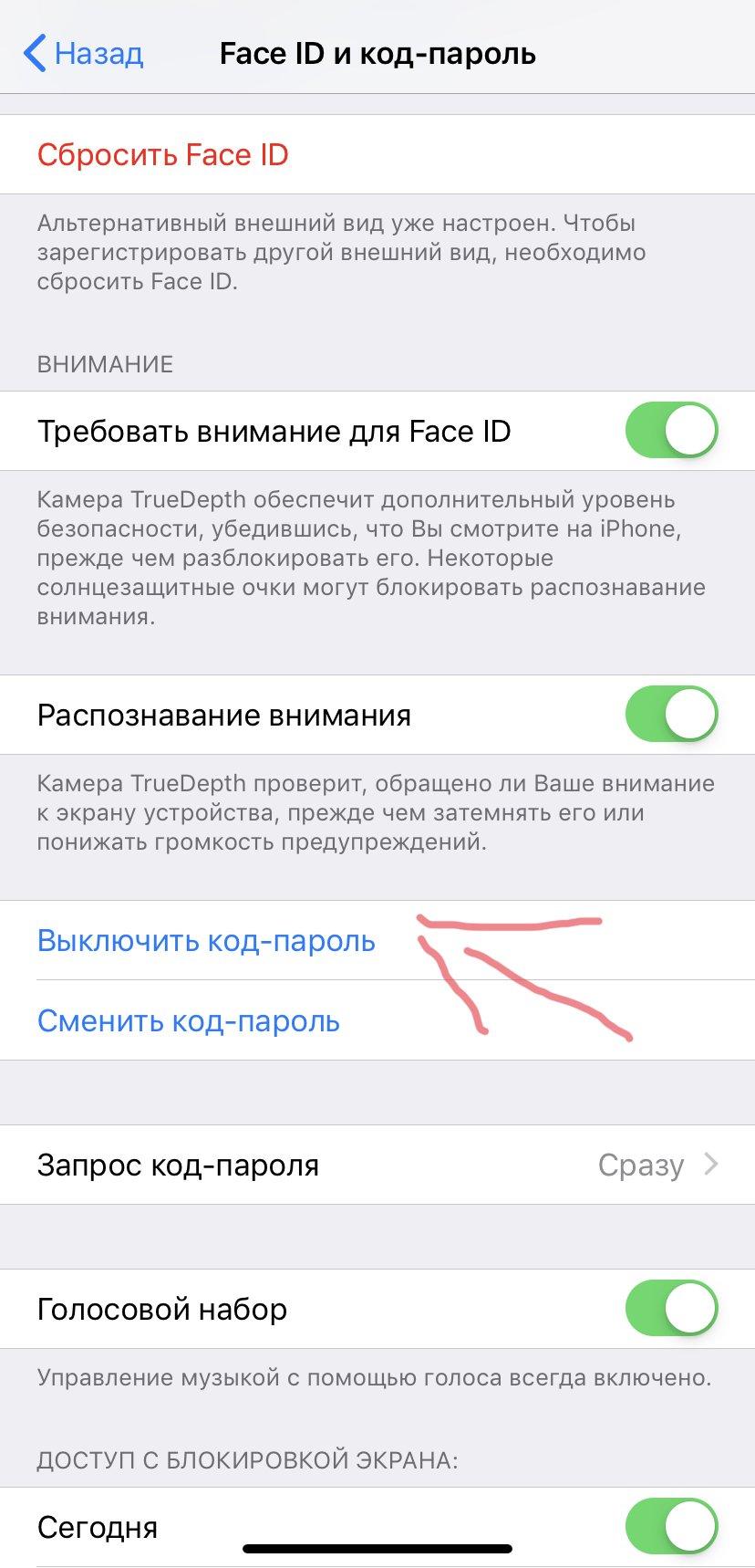 Как убрать код на iPhone XR